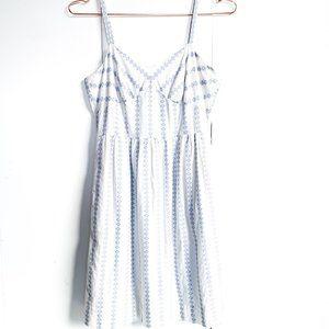 J.CREW cotton summer dress w/blue pattern; pockets